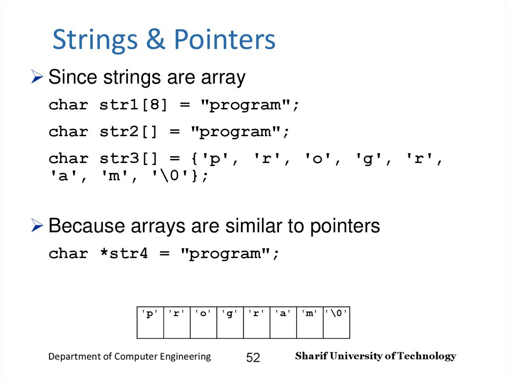 Strings & Pointers