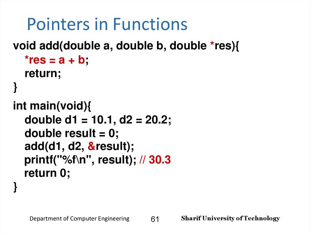 Pointers in Functions