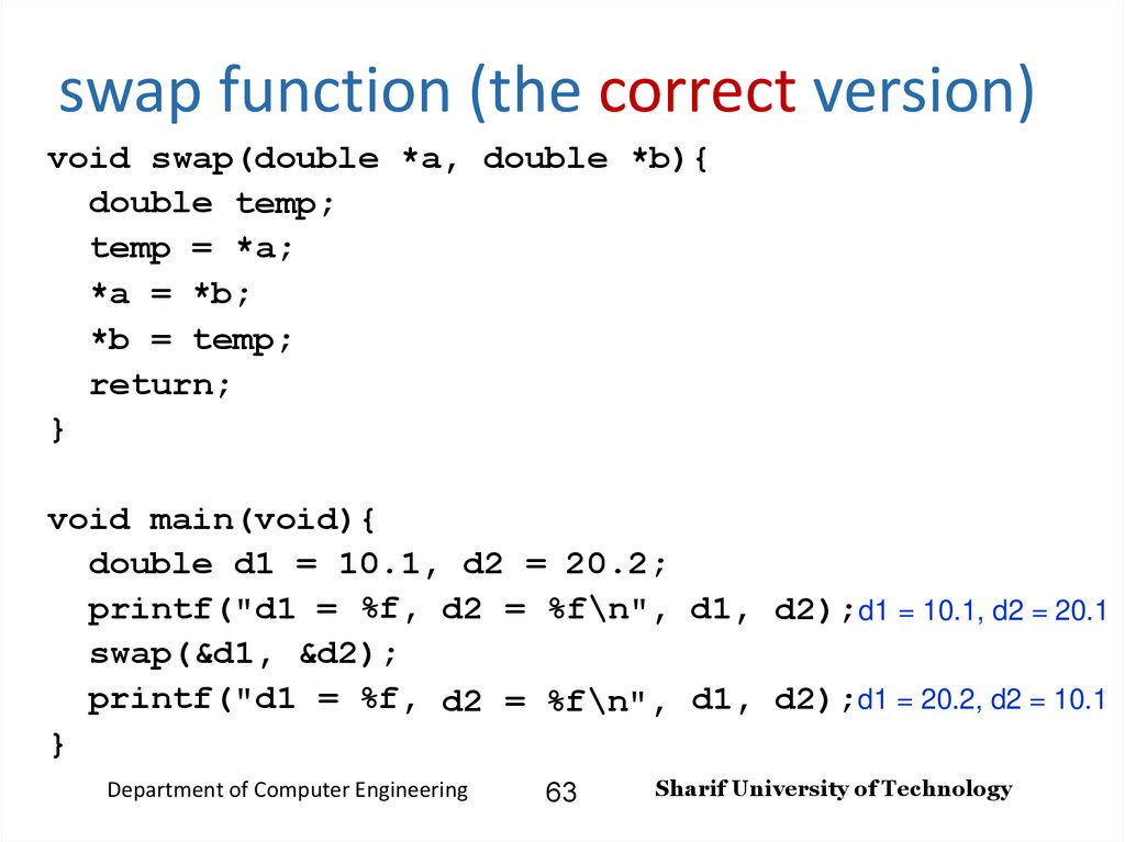 swap function (the correct version)