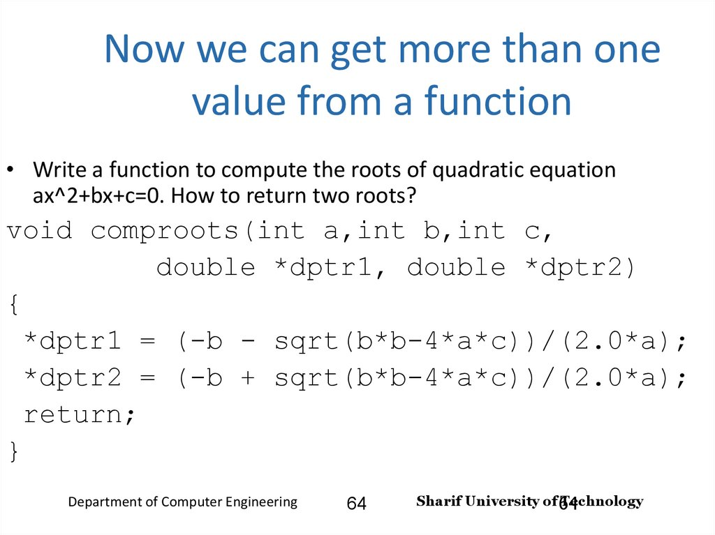 Now we can get more than one value from a function