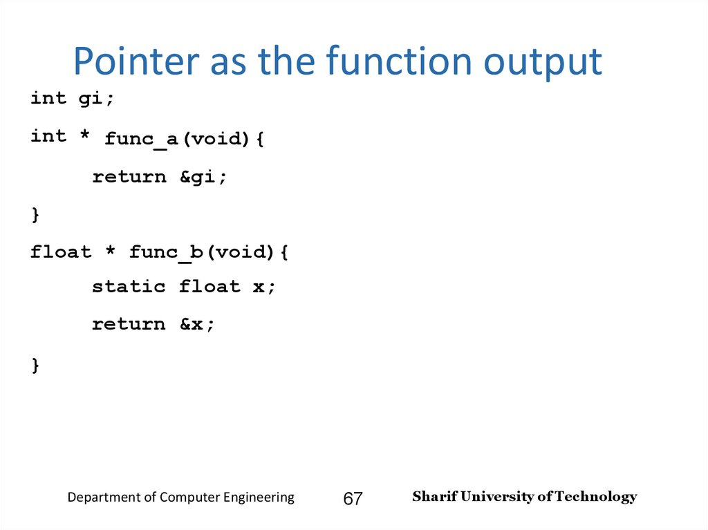Pointer as the function output