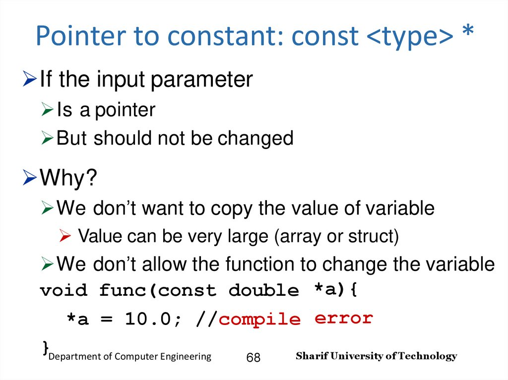 Pointer to constant: const <type> *