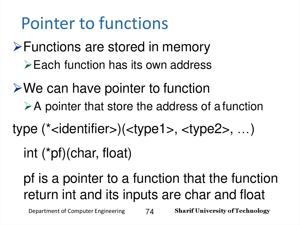 Pointer to functions