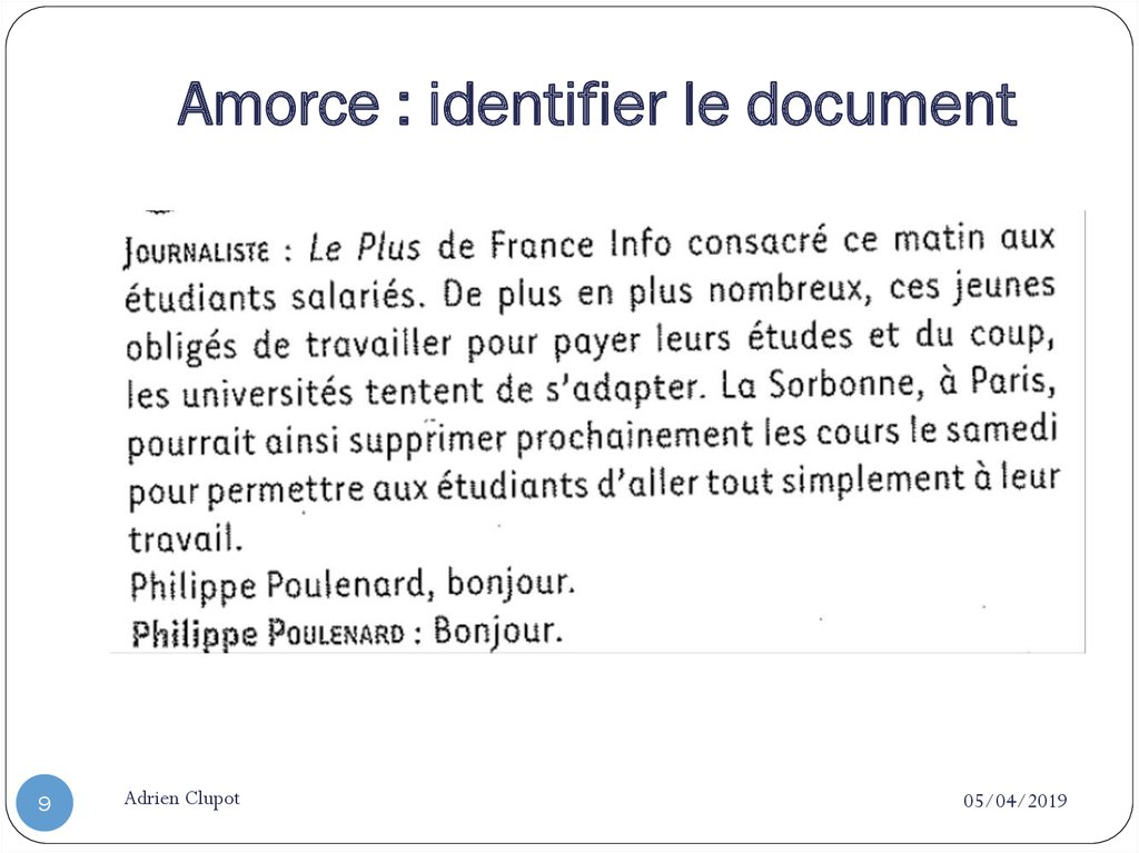 Amorce : identifier le document