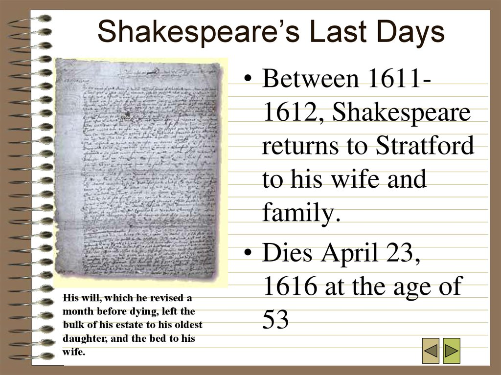 Shakespeare's Last Days