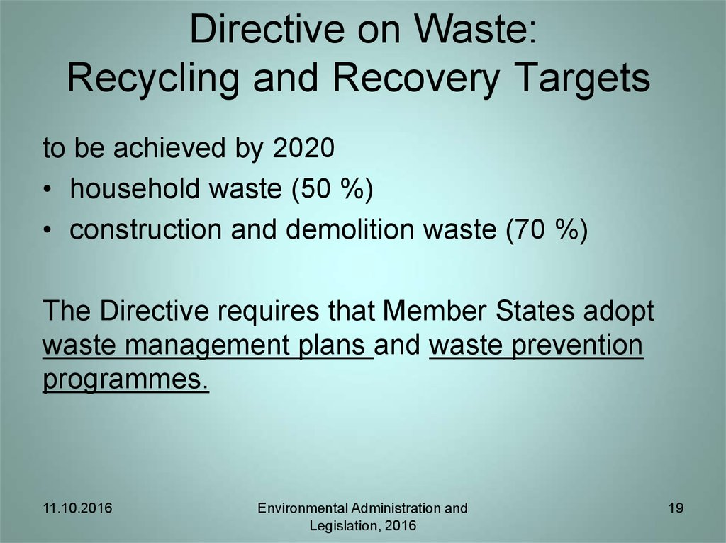 Directive on waste: Waste management