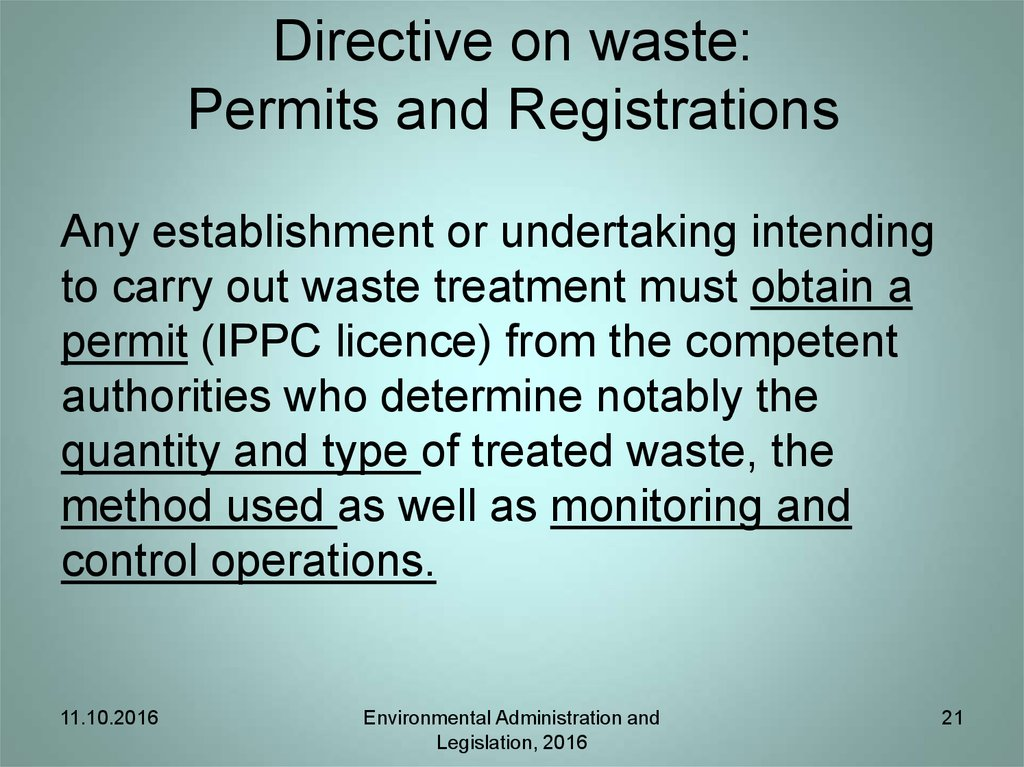 Directive on waste: Plans and programmes