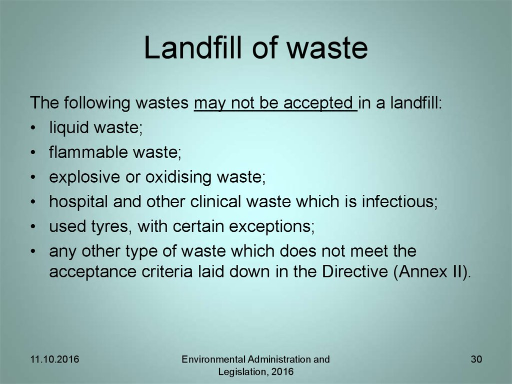 Landfill of waste