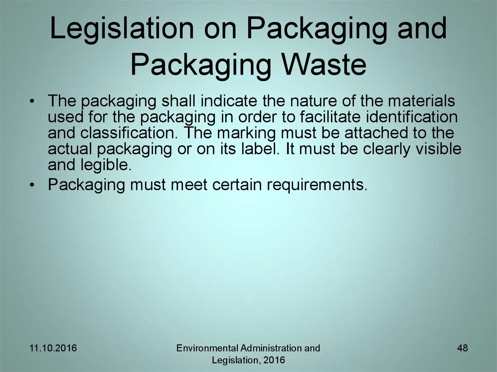 Legislation on Packaging and Packaging Waste