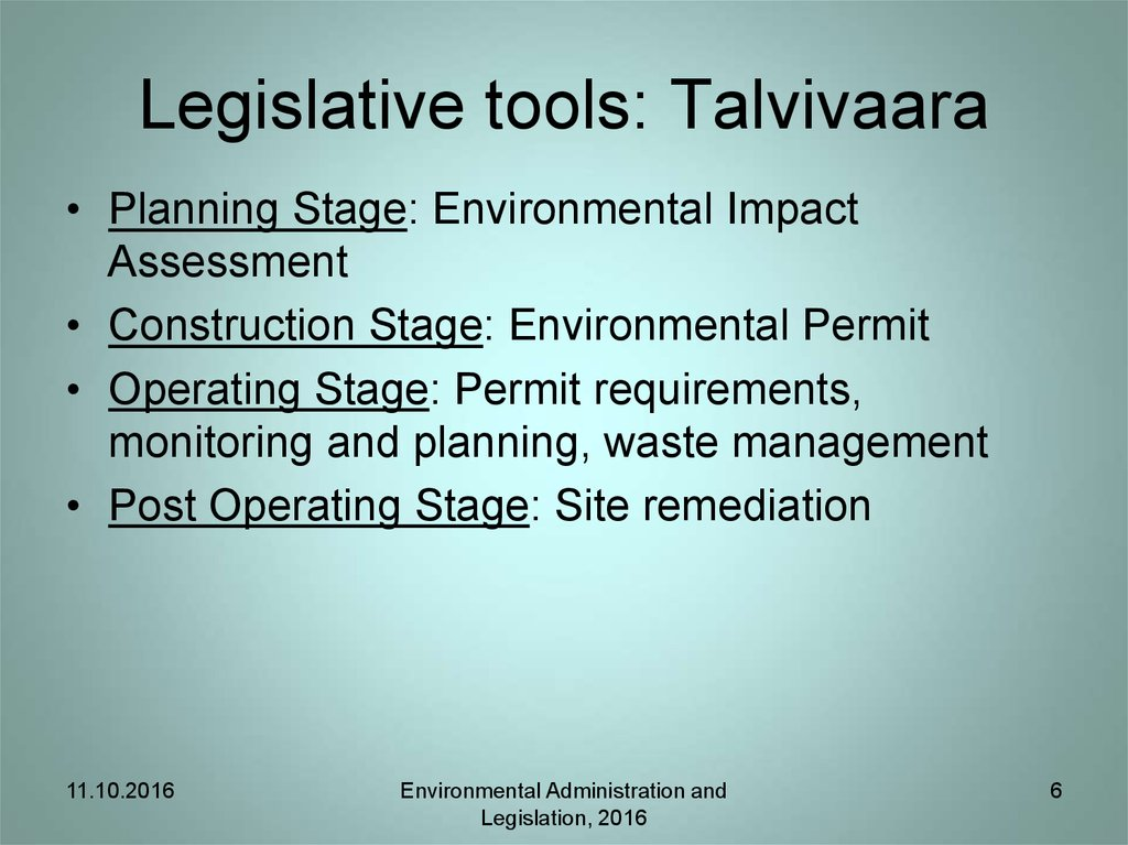 Legislative tools: Talvivaara