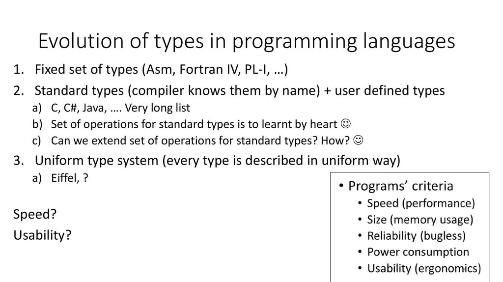 Evolution of types in programming languages