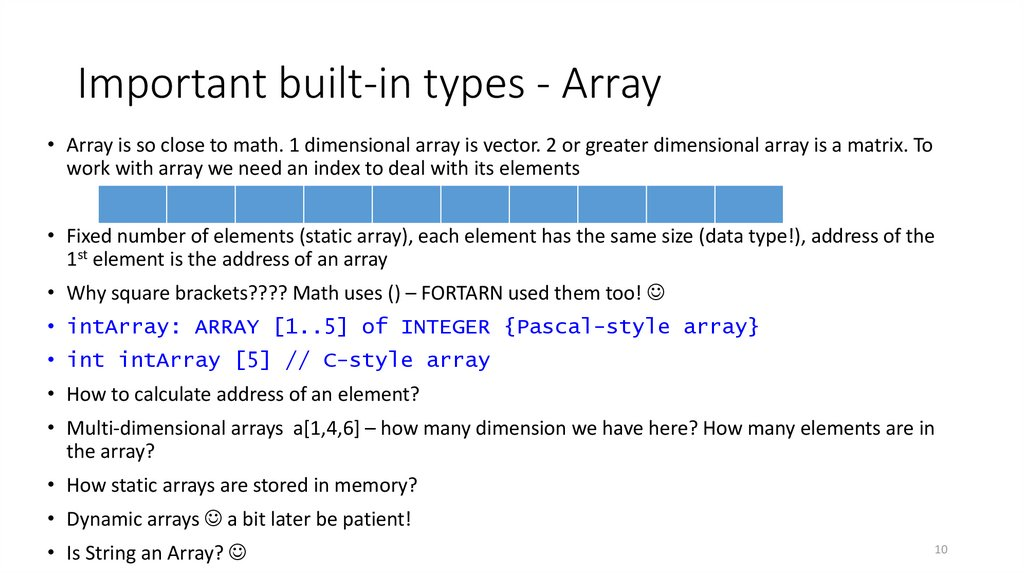 Important built-in types - Array