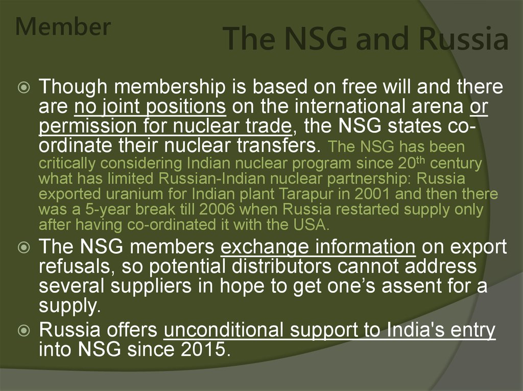 The NSG and Russia