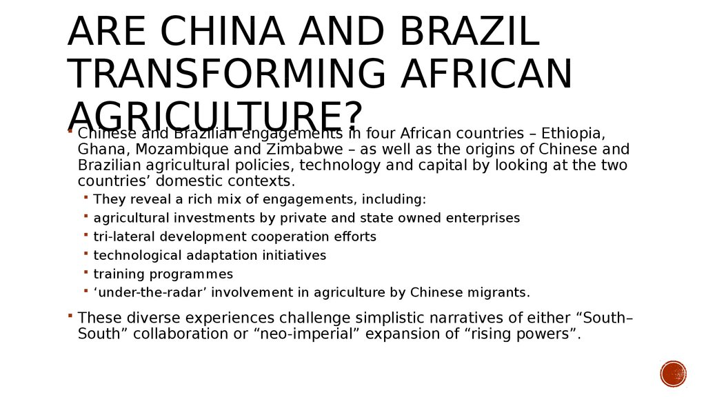 Are China and Brazil transforming African agriculture?