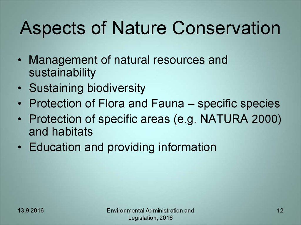 Aspects of Nature Conservation