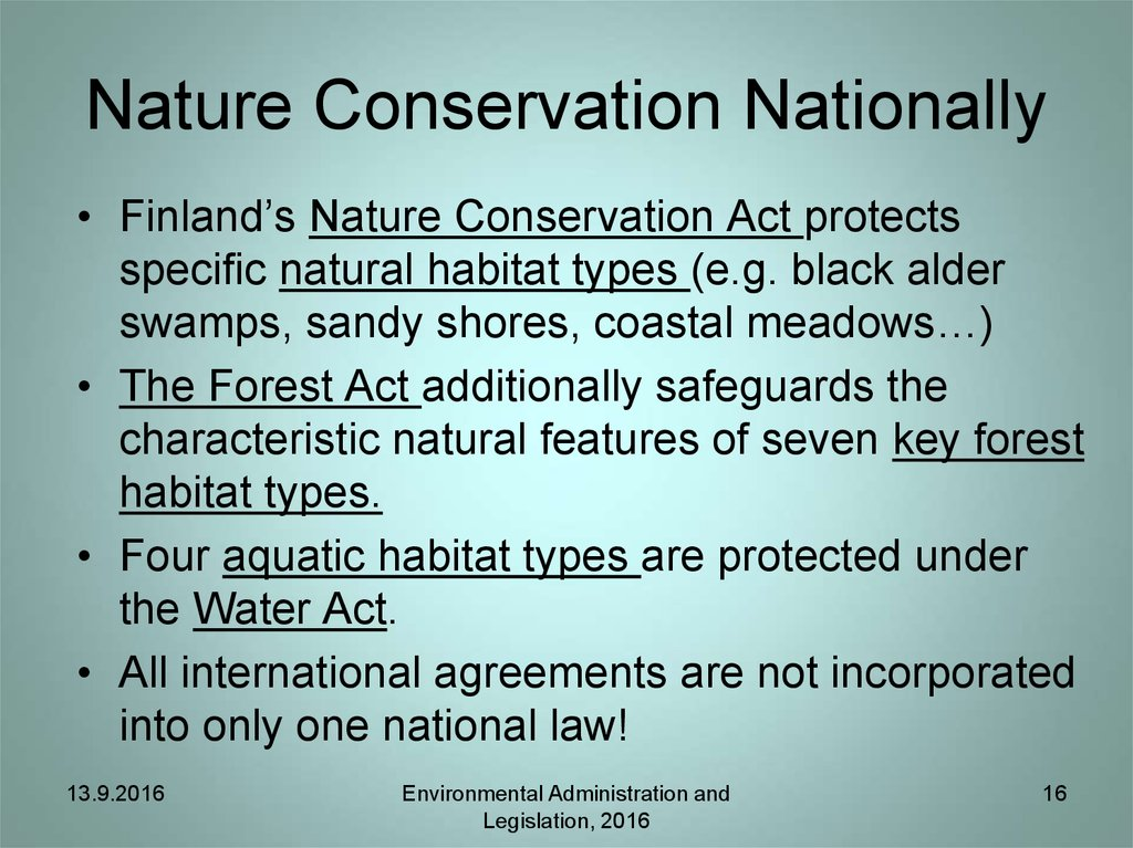 Nature Conservation Nationally