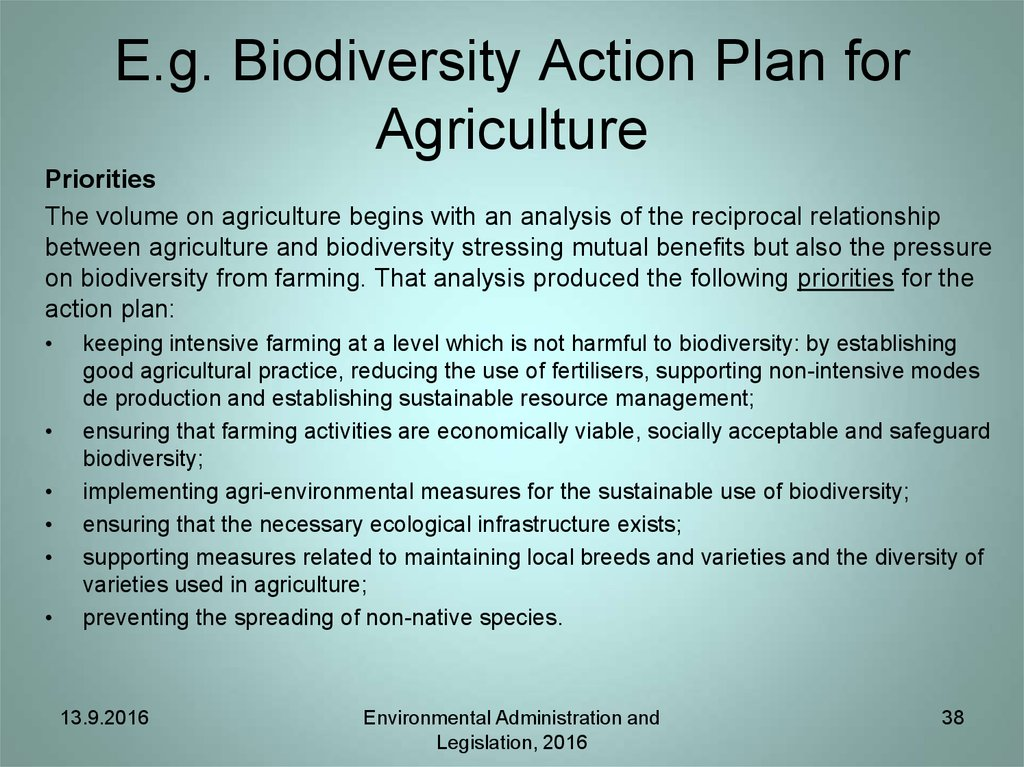 E.g. Biodiversity Action Plan for Agriculture