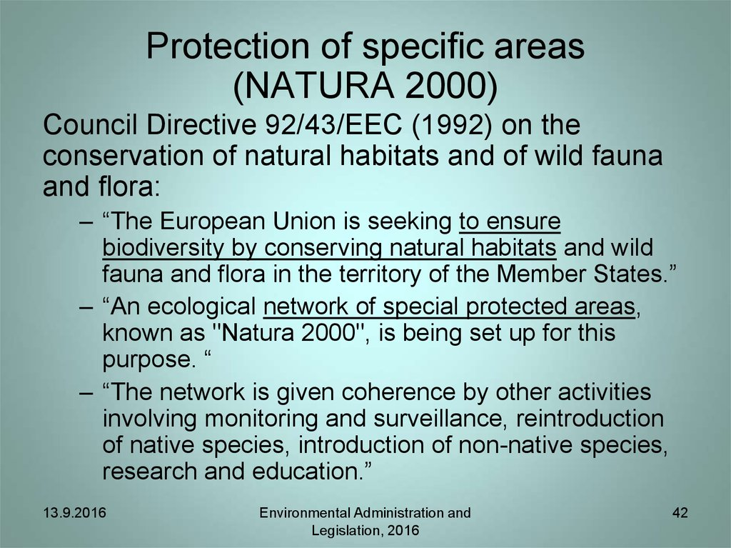 Protection of specific areas (NATURA 2000)