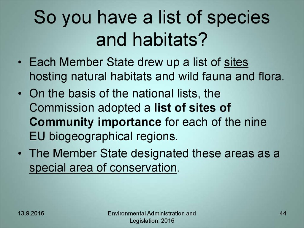 So you have a list of species and habitats?
