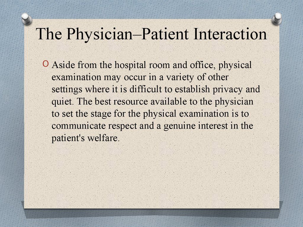 The Physician–Patient Interaction