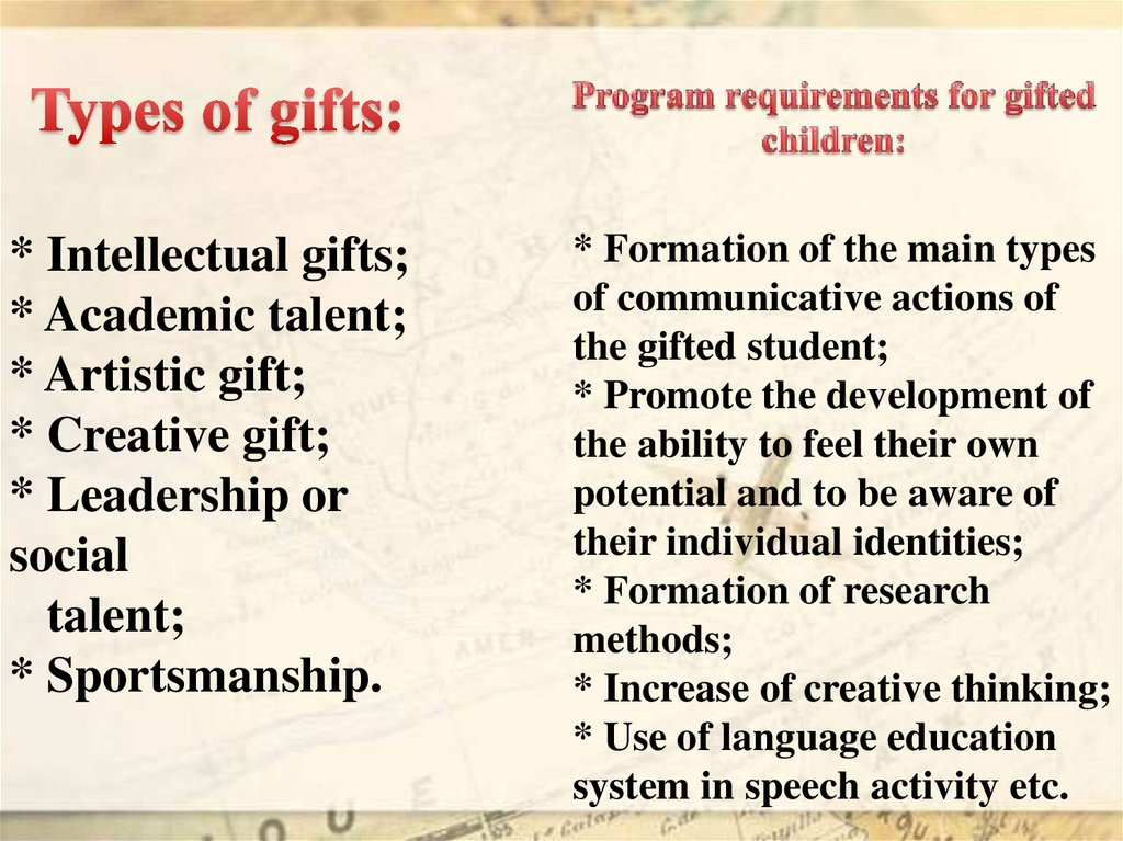Types of gifts: