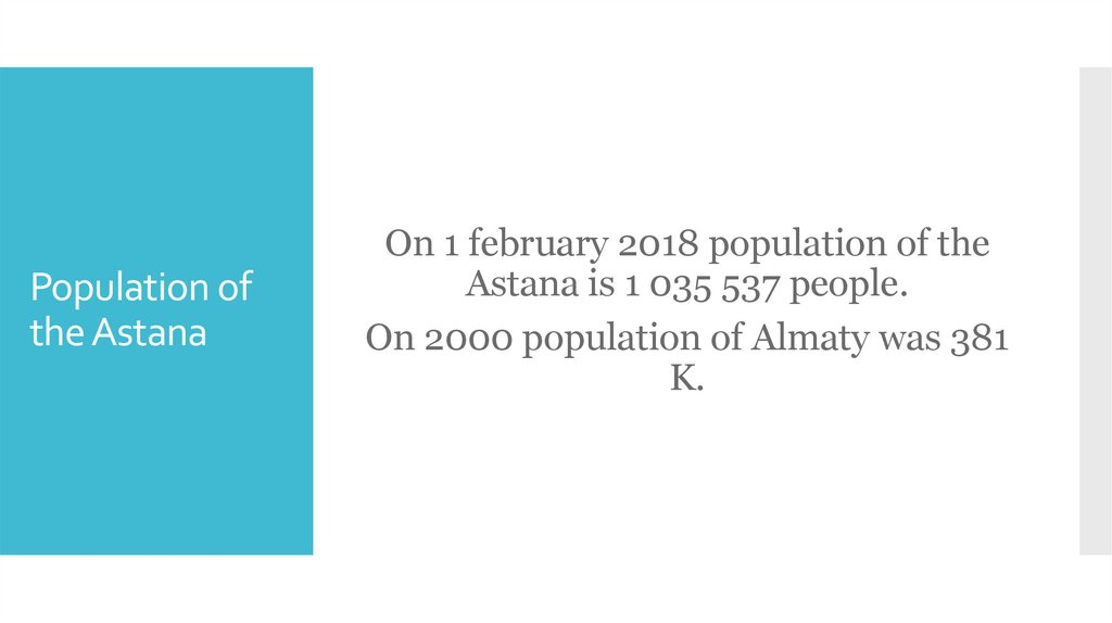 Population of the Astana