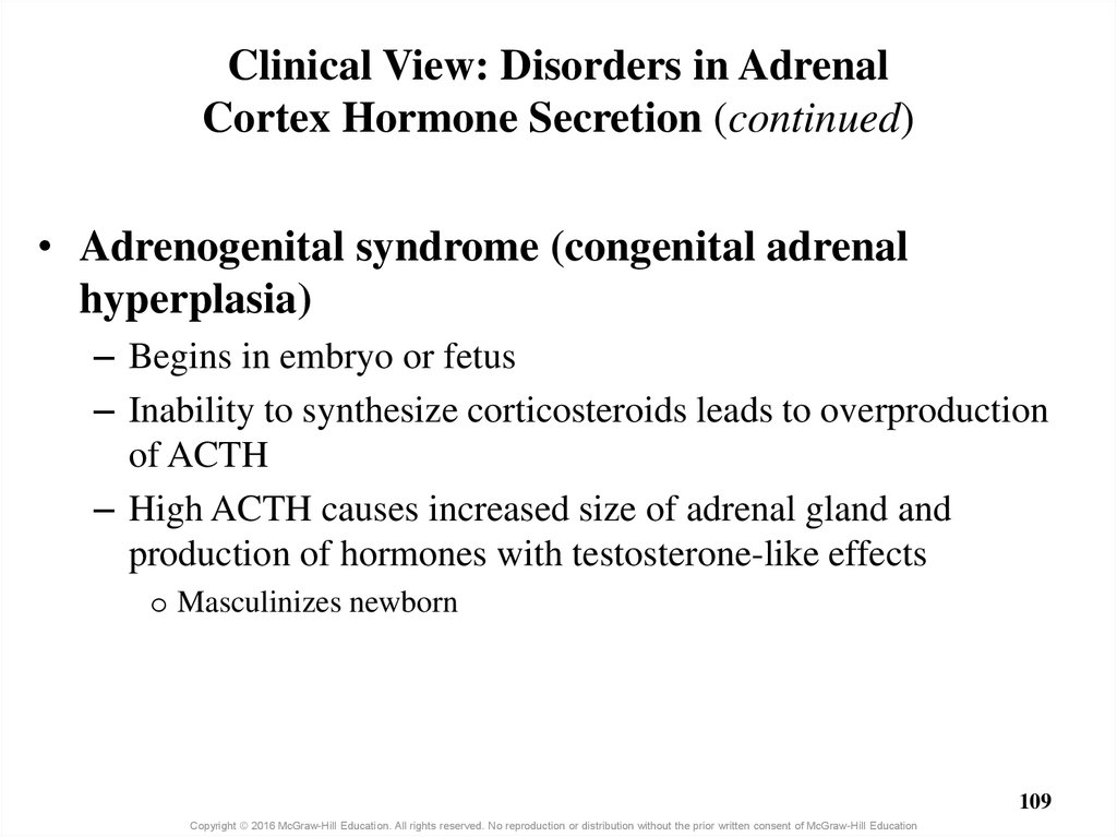 Clinical View: Disorders in Adrenal Cortex Hormone Secretion (continued)