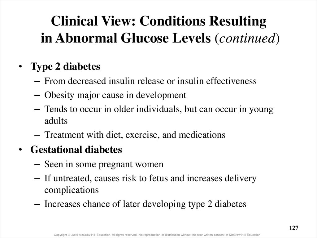 Clinical View: Conditions Resulting in Abnormal Glucose Levels (continued)