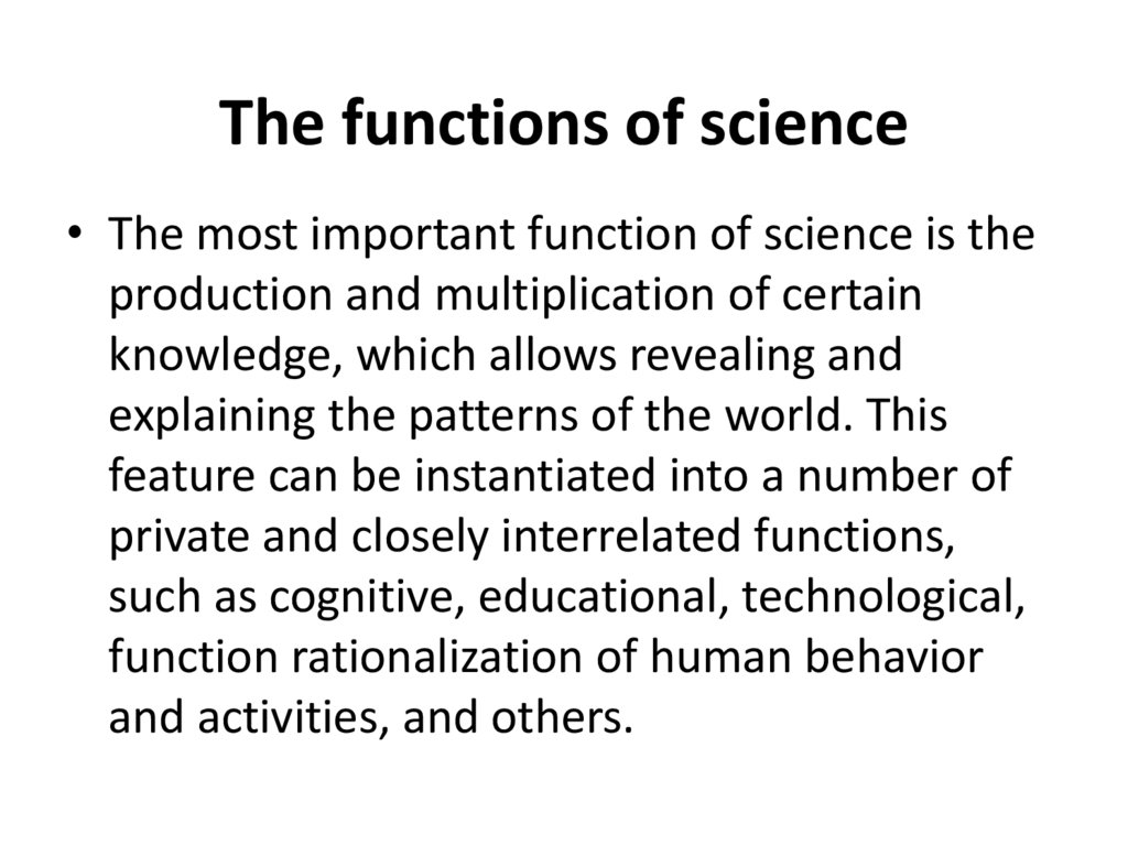 The functions of science