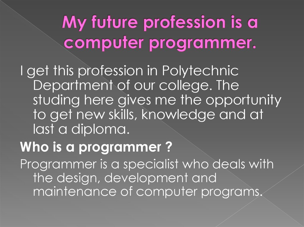 My future profession is a computer programmer.