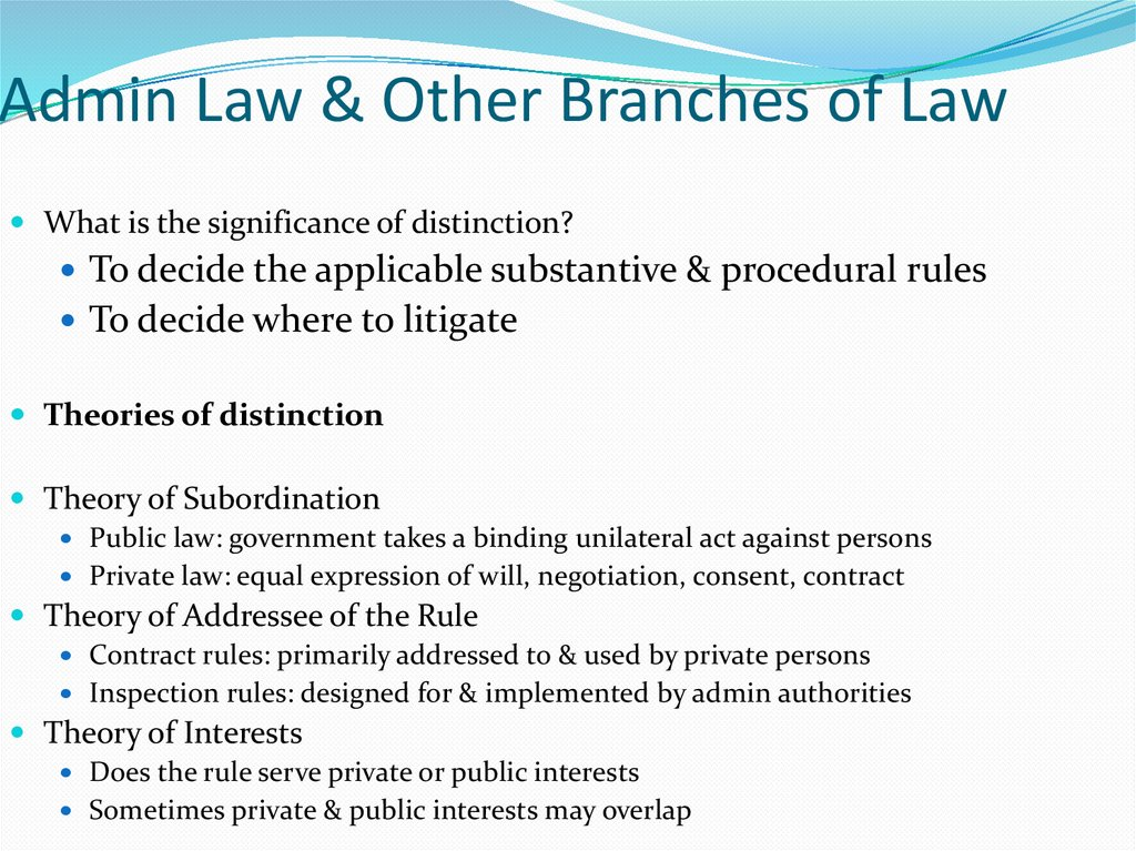 Admin Law & Other Branches of Law