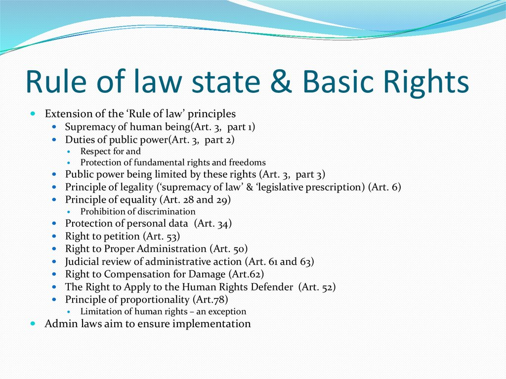 Rule of law state & Basic Rights