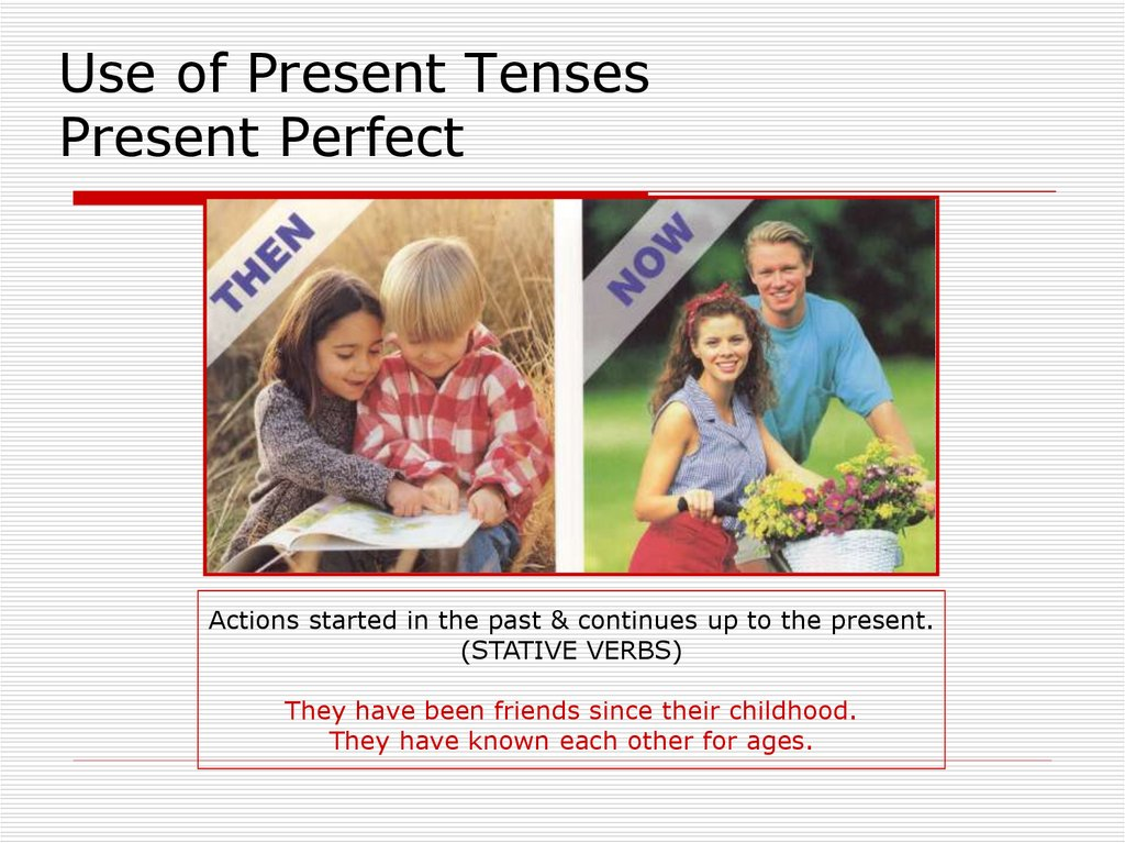 Use of Present Tenses Present Perfect