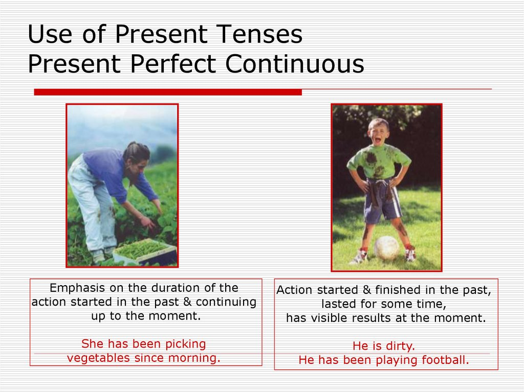 Use of Present Tenses Present Perfect Continuous