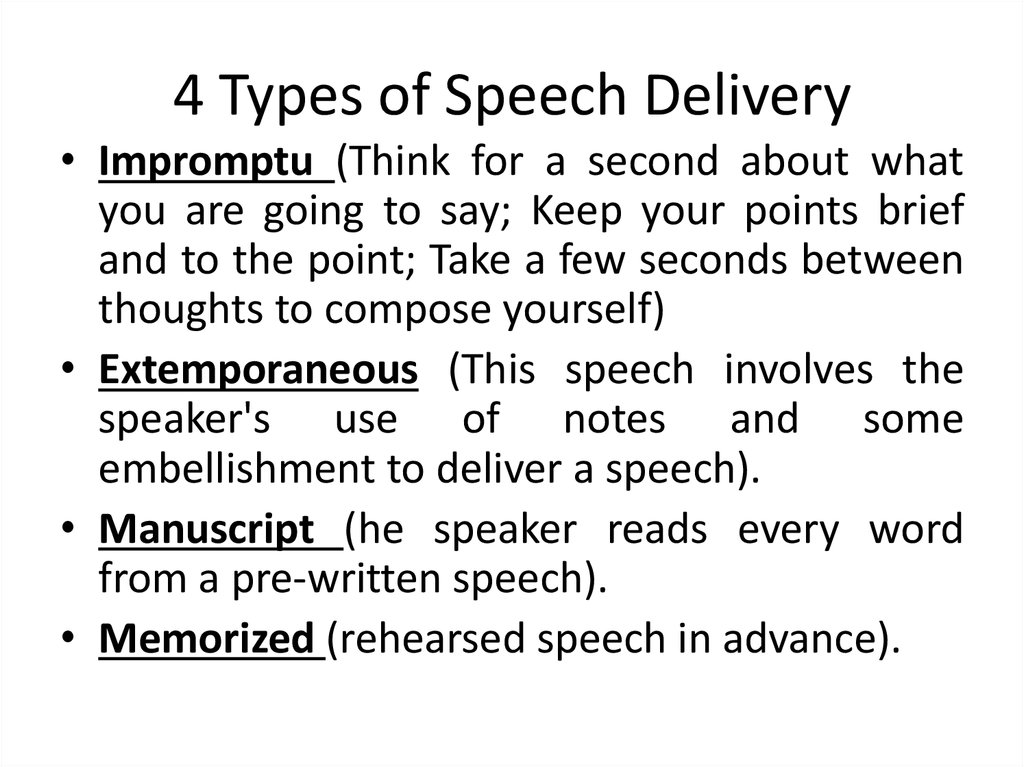4 Types of Speech Delivery