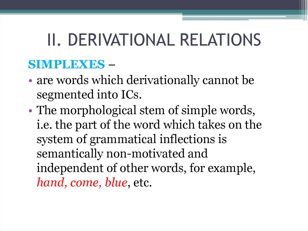 II. DERIVATIONAL RELATIONS