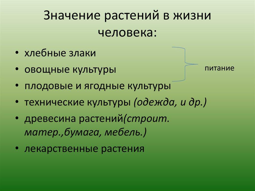 Значение растений в жизни человека: