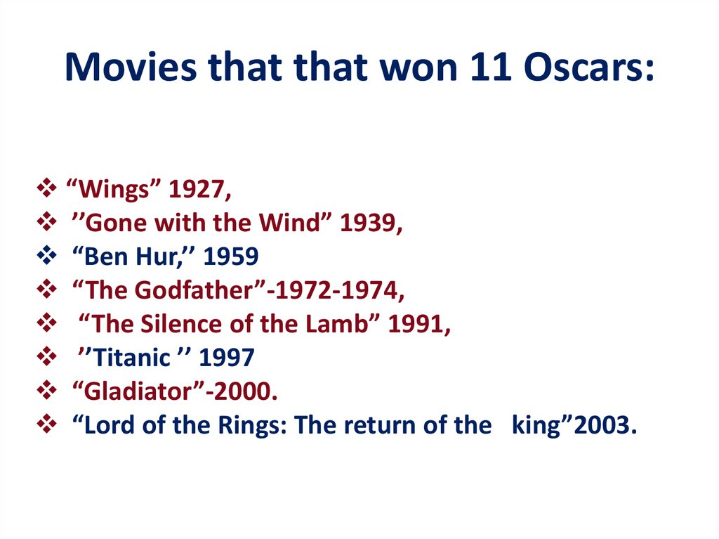 Movies that that won 11 Oscars: