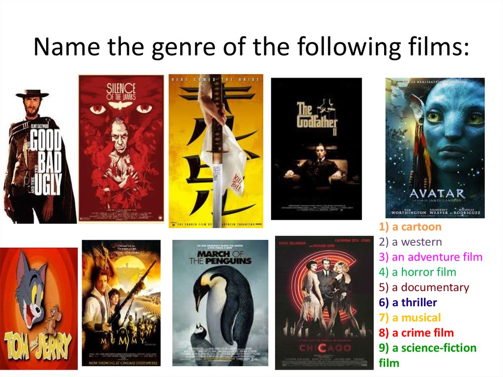 Name the genre of the following films: