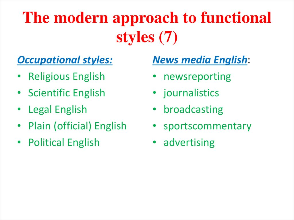 The modern approach to functional styles (7)