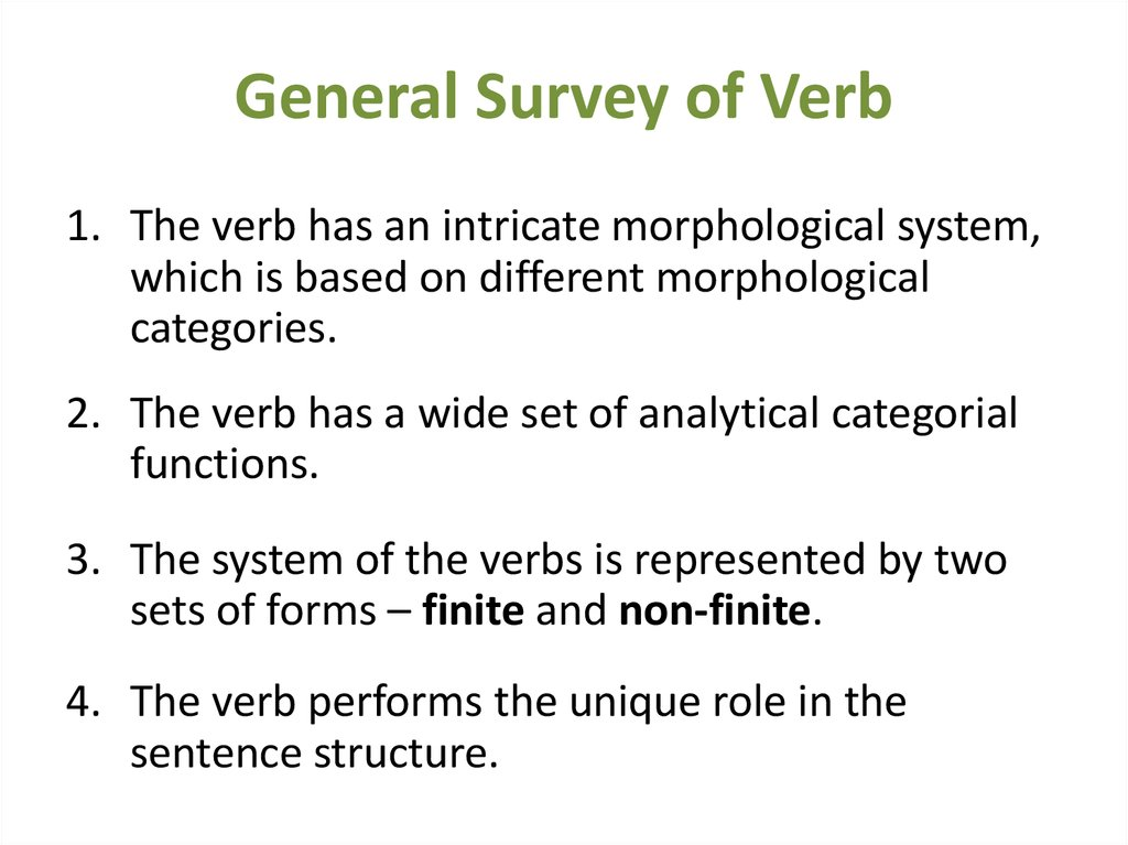 General Survey of Verb
