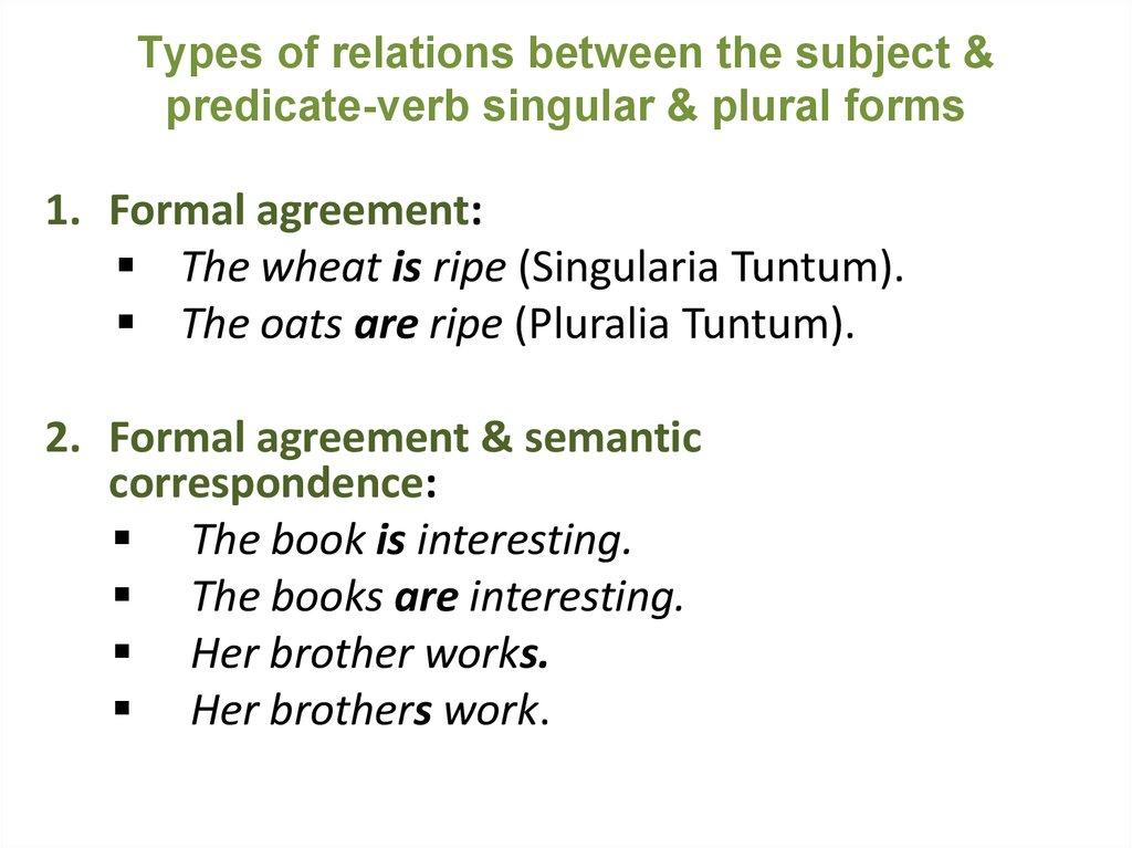 Types of relations between the subject & predicate-verb singular & plural forms