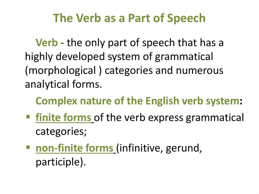 The Verb as a Part of Speech