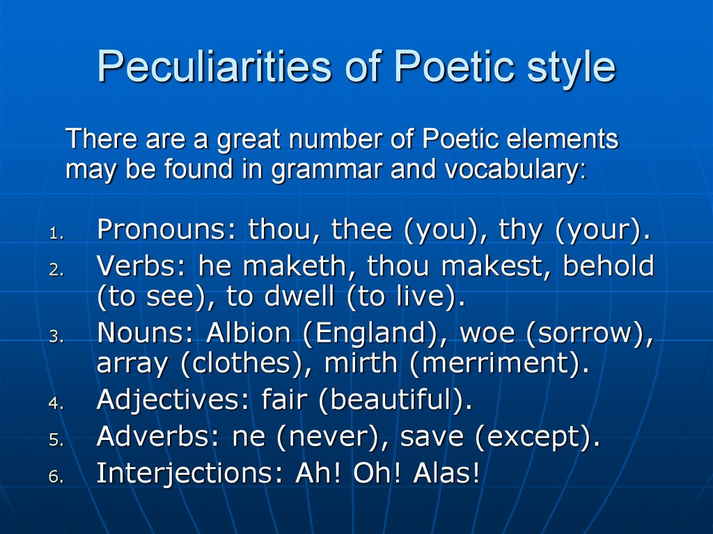 Peculiarities of Poetic style