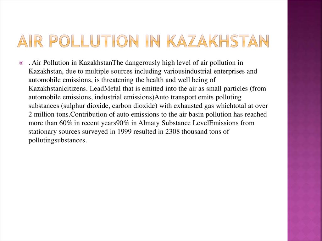 Air pollution in kazakhstan