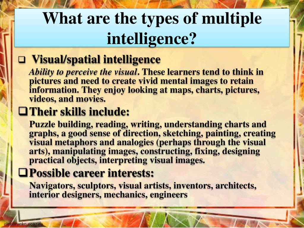 What are the types of multiple intelligence?