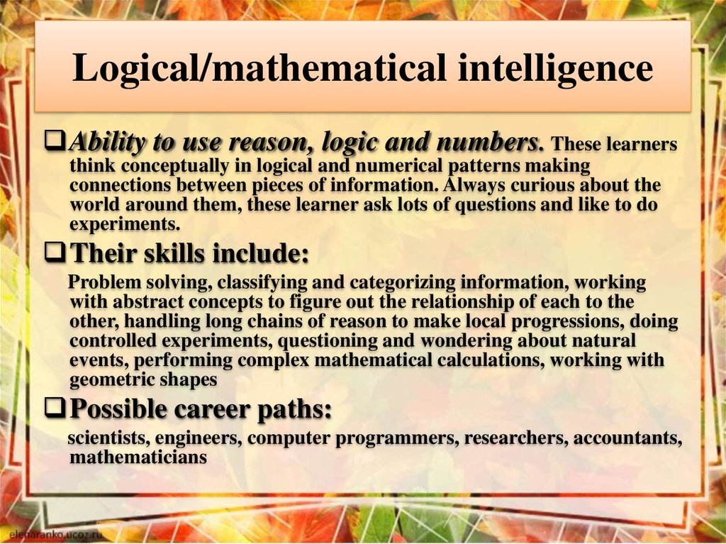 Logical/mathematical intelligence
