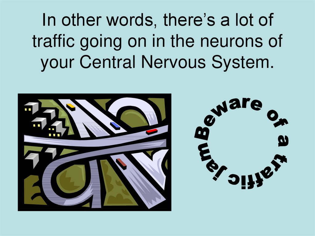In other words, there's a lot of traffic going on in the neurons of your Central Nervous System.